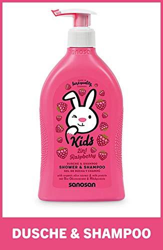 sanosan 2in1 Dusche & Shampoo Himbeere für Kinder - Duschgel & Haarshampoo mit Bio Olivenextrakt & Milchprotein (1x 400 ml) - Haarpflege, Hautpflege, Shower Gel, Haar Shampoo