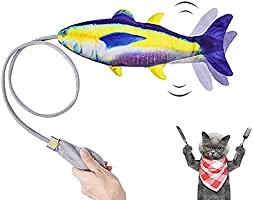 Cat Catnip Toys, Moving Fish Interactive Toy, Safe Durable Realistic Plush Simulation Fish Funny Cat Stick, Release...
