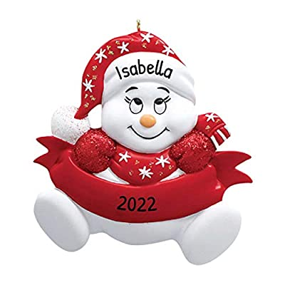 Personalized Snow-Baby with red hat Christmas Tree Ornament 2020