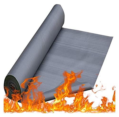 PLMOKN Vlamvertragende zeildoek, brandpreventie waterdicht -vettig silicagel elektrische lassen branddeken 1 meter breed materiaal bedekt, schip, auto, dak (Color : Gray, Size : 0.3mm)