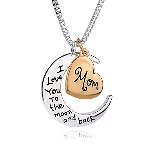 Collar para mujer, regalo para el día de la madre, luna y corazón de plata, collar con colgante con texto en alemán el mejor regalo de cumpleaños para mamá