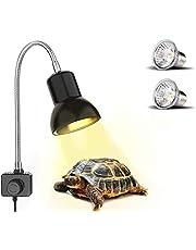 PewinGo Lámpara para Tortuga, Lámpara de Reptiles y Anfibios con 2 Bombillas de Luz Solar UVA UVB de 25 W y Abrazadera Giratoria de 360 °Adecuada