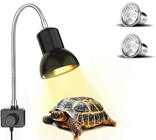 PewinGo Lampe Chauffante Tortue, Lampe Reptiles et Amphibiens avec 2 Ampoules Basking Spot UVA UVB 25W et Pince Pivotante à 360 ° adapté pour Tortue, Serpent, Lézard, Cacatoès, Caméléon etc.