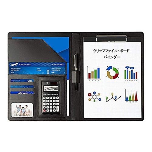 JEBBLAS A4 バインダー クリップボード 多機能フォルダー 12位電卓付き 書類契約フォルダー 会議パッド ビジネスファイル 収納ポケット ペンホルダー付き 高級PUレザー オフィス用品 入職プレゼント(ブラック)