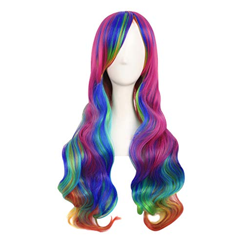 MapofBeauty 28 Pollic 70cm Ladies Cosplay Ricci Lunghe Scoppi Obliqui Parrucche (Arcobaleno Colore)