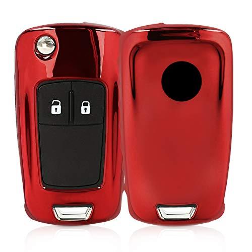 kwmobile Custodia Compatibile con Chiave Pieghevole Opel Vauxhall con 2-3 Tasti Opel Vauxhall - Cover Chiave Auto in Silicone TPU - Guscio Elastico Protezione Rosso Splendente