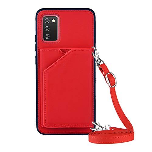 Galaxy A02S Funda tipo cartera para Samsung A02S Lanyard Case, a prueba de golpes Soporte Bumper Cover Cross-body Girly Case (Versión UE) (rojo)