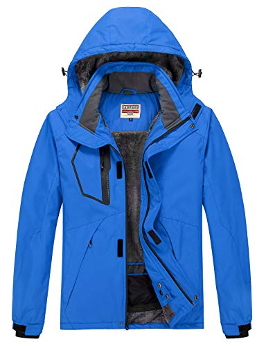 WULFUL Men's Waterproof Ski Jacket Warm Winter Snow Coat Mountain Windbreaker Hooded Raincoat