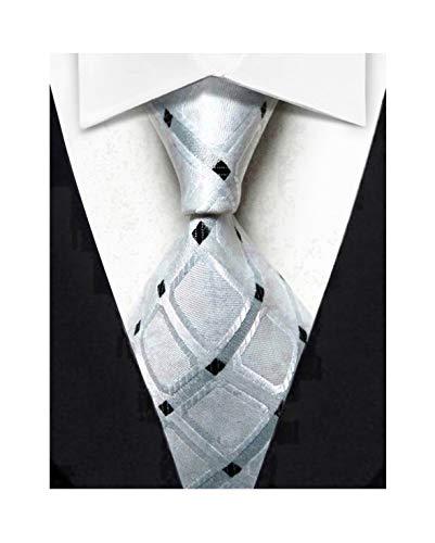 Wehug - Corbata de seda clásica para hombre, Blanco, 3.1 inch