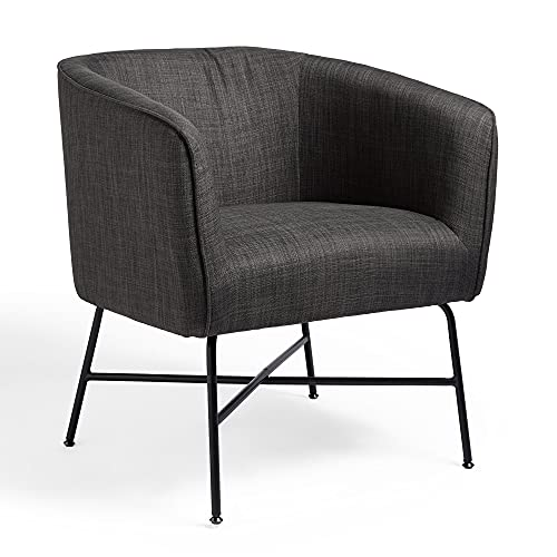 VonHaus Grey Accent Chair - Linen Tub Chair with Modern Black Metal Legs, Minimalist Armchair for Living Room, Lounge Chair for Bedroom