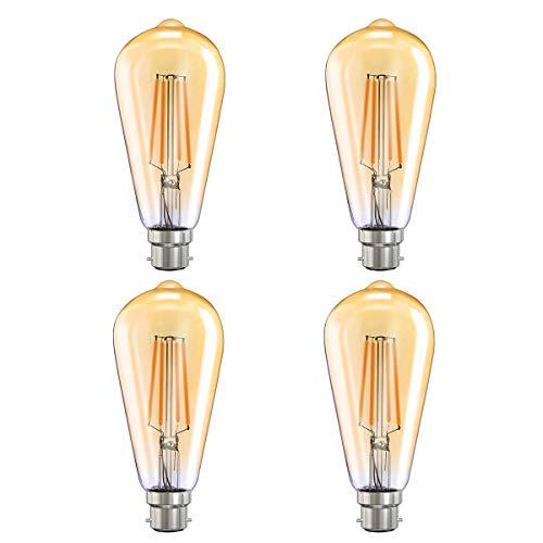 MoKo Smart WLAN Edison Glühbirne, B22 7.5W WiFi Vintage Birne Dimmbar LED Lampe Glühlampe Retro Glühbirnen Kompatibel mit Alexa Echo Google Home SmartThings, Warmweiß Licht Fernsteuerung Timer, 4 Pack