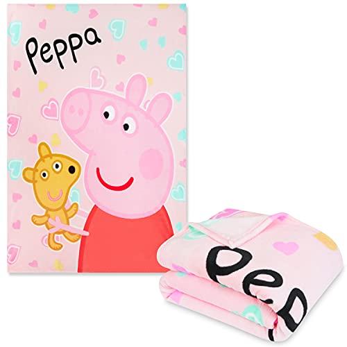 Peppa Pig Mantas para Sofa Niña, Manta Polar para Niñas, Mantita Dibujos Animados Infantil, Regalo para Niñas