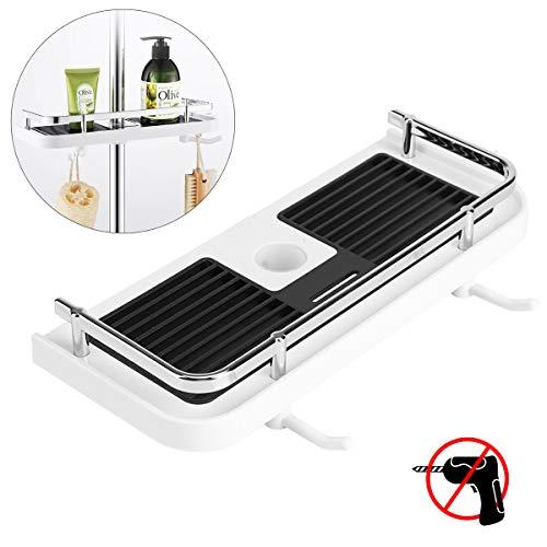 RenFox Duschablage für die Duschstange Ohne Bohren Badezimmer Dusche Rack Duschregal Bad Dusche Ablage Duschablage zum Hängen Badezimmerablage mit 2 Haken (Für Duschstange von 22-25mm)