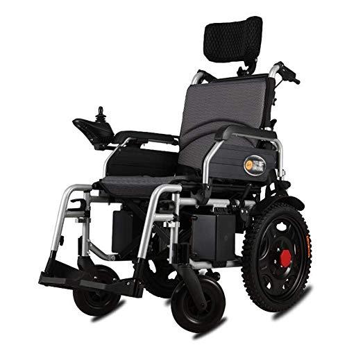 WANNA.ME ACEDA - Silla de ruedas eléctrica resistente con reposacabezas, plegable y ligera, ancho del asiento: 46 cm, palanca de mando de 360 °, capacidad de peso: 120 kg