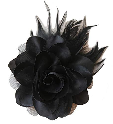 Cheerlife Ansteckrose Haarblume mit Schnabelspange Haarklipp Haarschmuck Haarspangen Ansteckblume Brosche für Frauen Herren Schwarz
