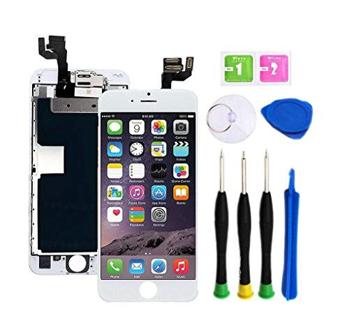 Premium Screen Replacement Compatible with iPhone 6s 4.7 inch Full Assembly -3D Touch Display digitizer with Front Camera, Ear Speaker and Sensors, Compatible with All iPhone 6s (White)