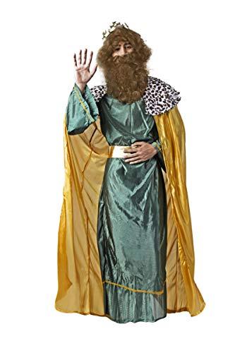 Costumizate! Disfraz de Rey Mago Verde con Tunica Amarilla para Hombre Adulto Talla Unica Especial de Navidad (Verde)