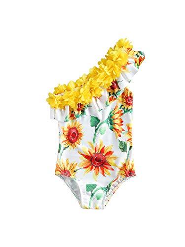 Costume da bagno per bambine, motivo floreale, con girasole, anguria, ananas, spalla, obliquo, collo con volant, per bambini, regalo estivo Girasole giallo 4-5 anni