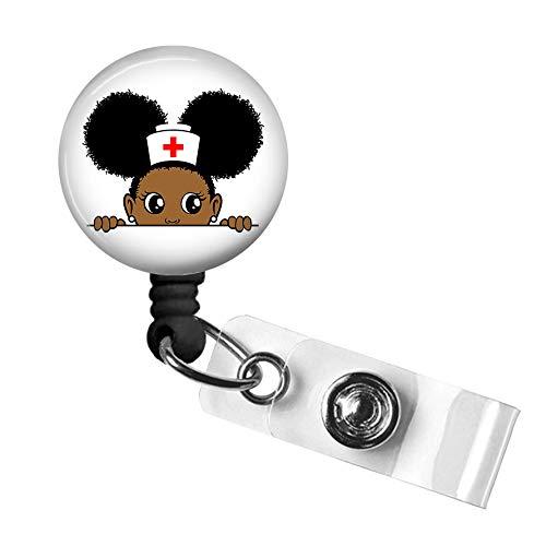 Afro Girl Nurse Badge Reel,Retractable Name Card Badge Holder with Alligator Clip, Medical MD RN Nurse Badge ID, Badge Holder, Office Employee Name Badge