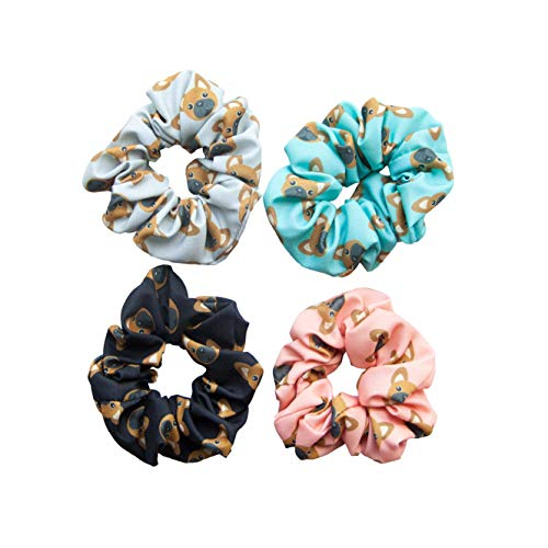Happie Haire Frenchie French Bulldog Dog Hair Scrunchies 4 Pack Cotton Elastic Hair Bands Scrunchy Hair Ties Ropes Scrunchie for Women or Girls Hair Accessories