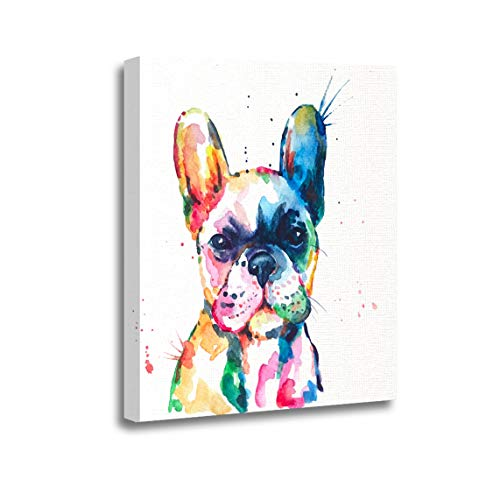 Ansouyi 12x16 Inches Canvas Wall Art Painting Frenchie French Bulldog Original Watercolor of Dog Puppy Rainbow Home Decorative Artwork Prints