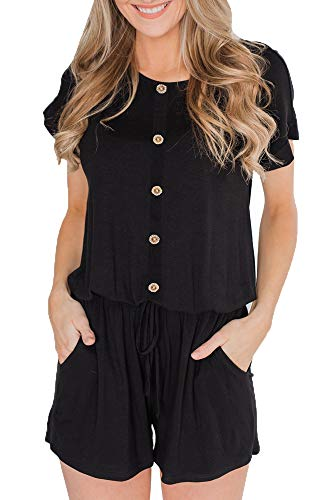 BOCOTUBE Women's Summer Casual Short Sleeve Striped Front Button Loose Jumpsuit Rompers with Pockets Black