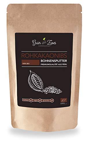 Bio Roh-Kakao Nibs 200 g Premium Auslese von GrünHochZwei. Kakao in seiner ursprünglichsten Form aus Peru. 100 % rohe Kakaonibs.
