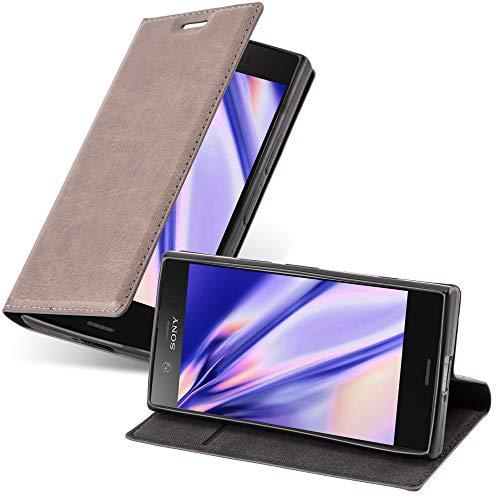 Cadorabo Hülle für Sony Xperia Z1 COMPACT - Hülle in Kaffee BRAUN – Handyhülle mit Magnetverschluss, Standfunktion & Kartenfach - Hülle Cover Schutzhülle Etui Tasche Book Klapp Style