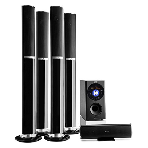 "auna Areal 652 Surround Sound System 5.1-Kanal Heimkinosystem Lautsprechersystem (145 Watt RMS, 16,5 cm (6,5"")-Sidefiring-Subwoofer, Bassreflex, Bluetooth, USB-Port, SD-Slot, AUX) schwarz"
