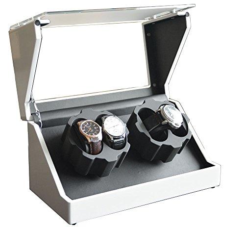 1PLUS hochwertiger Premium Uhrenbeweger Uhrenvitrine Watch Winder für 4 Automatikuhren, weiß