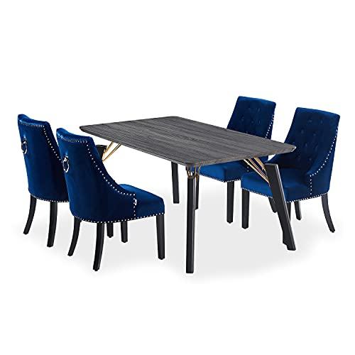 Life Interiors: Cosmo & Windsor Juego de 4 sillas   Mesa de comedor LUX   Diseño moderno de patas   Silla de comedor de terciopelo   Silla de comedor vintage   (Mesa negra y sillas de color azul real)