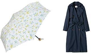 【セット買い】ワールドパーティー(Wpc.) 日傘 折りたたみ傘 白 50cm レディース 傘袋付き T/C遮光エマズベリーズ ミニ 801-2560 OF+レインコート ポンチョ レインウェア ネイビー FREE レディース 収納袋付き R-1108 NV
