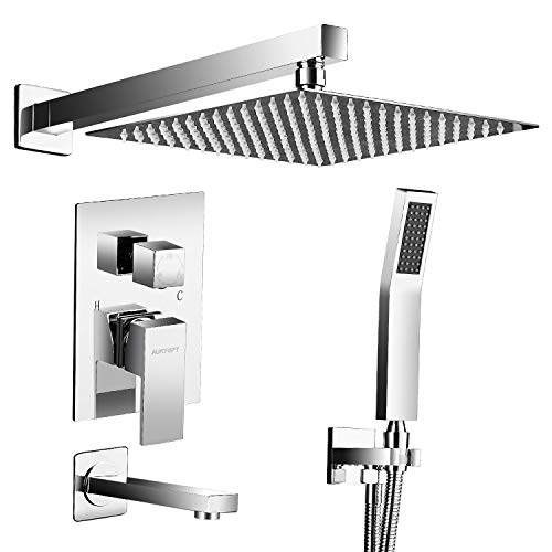 AUKTOPT Rainfall System with Tub Spout for Bathroom Wall Mounted Rain Mixer Combo Shower Faucet Set, Polished Chrome(Contain Trim Kit with Rough-In Valve) Bath Shower Mixer Kit