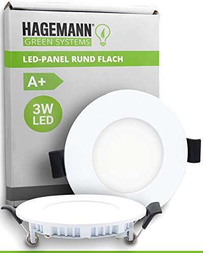 HAGEMANN® 1 x LED empotrable 3 W 270 lm – Diámetro de agujero de 68 mm – Panel LED redondo plano