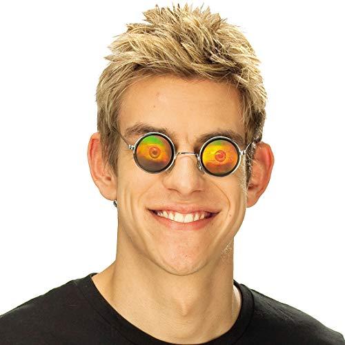 Amakando Schaurige Nickelbrille mit Augäpfeln / Silber / Gruselige Rundbrille mit Holo-Motiv / Bestens geeignet zu Mottoparty & Horror-Party