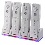 Wii Remote Controller Charger, 4 in 1 Wii Charging Dock Station with 4PCS...
