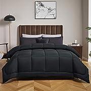 Bedsure Down Alternative Comforter King Size, Black Duvet Insert-Reversible Microfiber