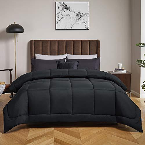 Bedsure Down Alternative Comforter Queen- All Season Quilted Lightweight Comforter Duvet Insert Queen with Corner Tabs 300GSM Plush Microfiber Fill Machine Washable Black 88x88 Inch