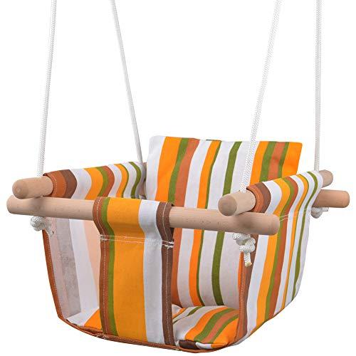 MIMIEYES Holz Baby Schaukel Leinwand Sitz Set mit Kissen, handgemachte Kinder Indoor Outdoor Hängesessel Hängematte, Bequeme Kleinkind Sitz Kinderzimmer Dekor (Gelb)