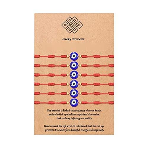 6Pcs Kabbalah Bracelet 7 Nudos de Hilo Rojo Unisex Protección Ocular Ajustable Kit de Pulsera de Buena Suerte con Tarjeta de Deseos Pulseras Personalizadas para Parejas