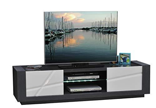 Sciae 13St3320 Quartz 67, TV-Media-Lowboard mit 2 Schiebetüren, 180 x 45 x 50 cm, Korpus Esche-Dunkelgrau, Hochglanz-weiß-lackiert