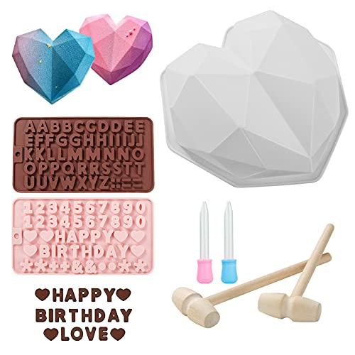 Diamant Herz Schokoladenform, 3D Herz Silikonform Schalen, Silikon Herzbackform und Zahlenformen, verpackt mit 2 Holzhämmern und 2 Tropfern zum DIY-Schokoladenbacken