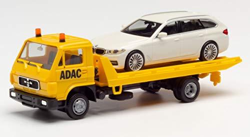herpa 094191 – Man G 90 Plateau Abschleppfahrzeug, ADAC Fahrzeug, Trucks, Gelbes Miniatur Auto, Modellbau, Miniaturmodelle, Sammlerstück, Kunststoff - Maßstab 1:87