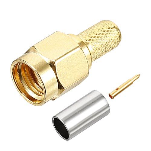 UXCELL 5pz tono oro SMA maschio dritto Crimp RG58jack coassiale RF adattatore Linker 1 pcs SMA Male