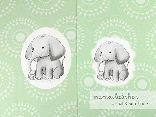 Mamasliebchen Jersey-Stoff jaspal & Suri #Jade (1 Panel, ca. 0,65m) Elefant Hase Panel