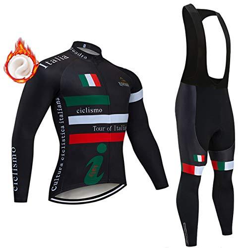 Maglia da Ciclismo Termica in Pile da MTB + Pantaloni con Bretelle da Bicicletta, Abbigliamento Invernale a Maniche Lunghe per Uomo