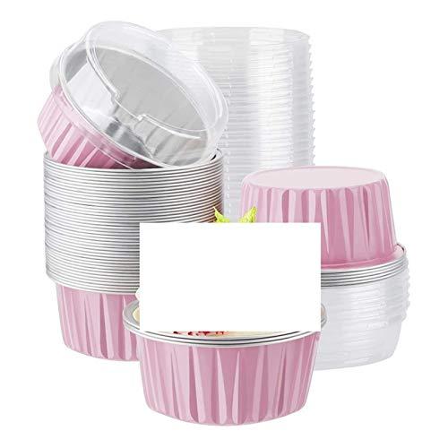 ZSZJ Accesorios de Bricolaje 100 unids/Lote 125 ml Muffin Magdalena Pastel de Hornear Tazas de Tazas de matizas Tazas con Tapas de Aluminio Cupcake Hornear Tazas Molde de Torta (Color : Pink)