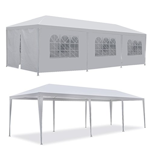 F2C 10 x30 Outdoor Gazebo White Canopy with sidewalls Party Wedding Tent Cater Events Pavilion Beach BBQ (10'X30')