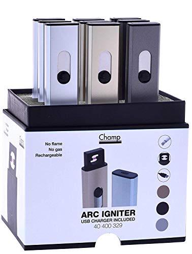 Arc Igniter Feuerzeug USB-Ladegerät enthalten keine Flamme kein Gas wiederaufladbare Zigarre Zigaret Champ (Silber)