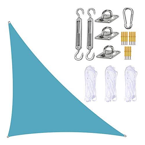 JJIIEE Parasol para Patios, toldo Triangular con Kit de fijación, 3 Cuerdas, 95% de Bloqueo UV, Resistente al Agua y a los Rayos UV, marquesina para jardín y Patio al Aire Libre,Sky Blue,3x3x4.3M
